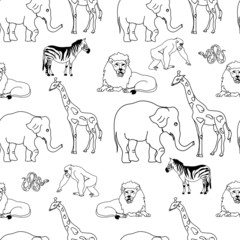 Animals Line Art Seamless Pattern