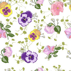 Seamless pattern with viola flower