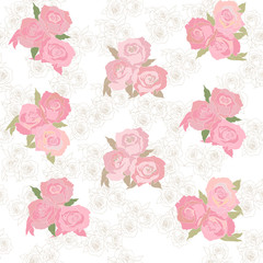 seamless  pattern with elegant pink roses