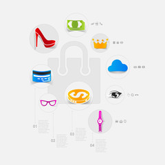 Set of modern stickers. Shopping