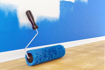 Roller brush on floor. Home interior