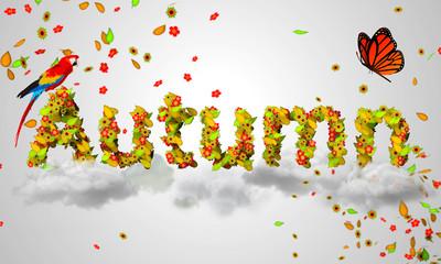 Autumn leaves particles 3D