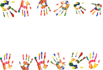 Frame of color hands print isolated on white