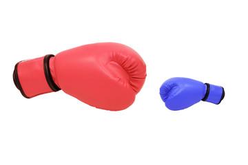 Fototapeta blue and red boxing gloves in white background obraz