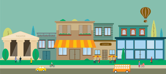 City streets in flat design
