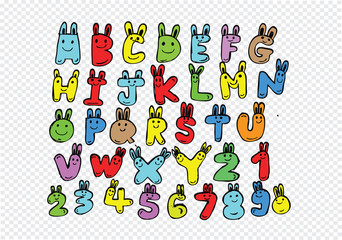 Hand drawn letters font written with a pen