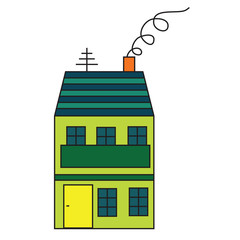 fairytale vector house symbol antenna