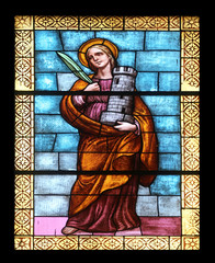 St Barbara, stained glass in the church in Porto Azzurro, Italy