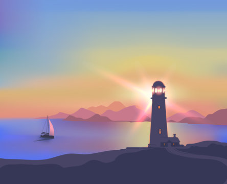 Illustration with a sunset, sea, lighthouse, mountains