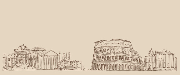 Rome, Italy vintage engraved illustration, hand drawn