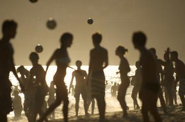 Rio de Janeiro Beach Silhouettes Brazilians Playing Altinho