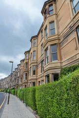 Side view of vintage facades in Edinburgh