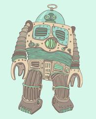 robot soldier, vector illustration, hand drawn