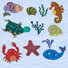 Set of cute sea animals.