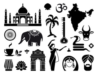 Traditional symbols of India. Simple icons