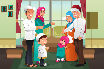Family celebrating Eid-al-fitr
