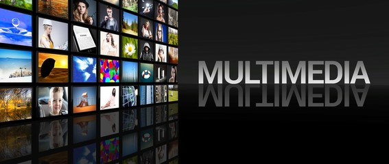Multimedia television screens black background
