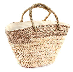 Wicker bag isolated on white