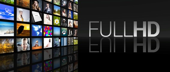 Full HD television screens black background