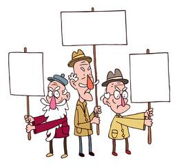 three old man protesting