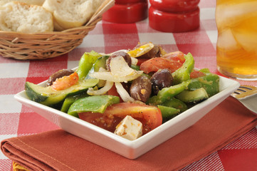 Greek salad with rolls