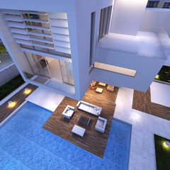 Impressive house aerial view