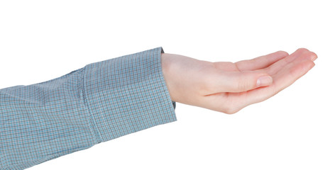 cupped palm hand gesture