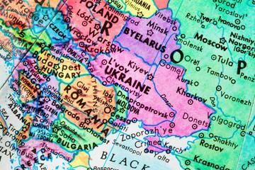 Globe Close-Up of Ukraine