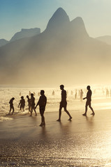 Ipanema Beach Rio Two Brothers Mountain Sunset Beach Silhouettes