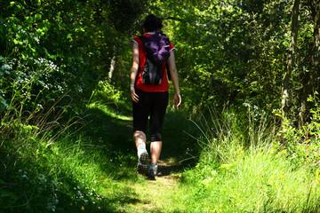 mujer joven caminando por el campo