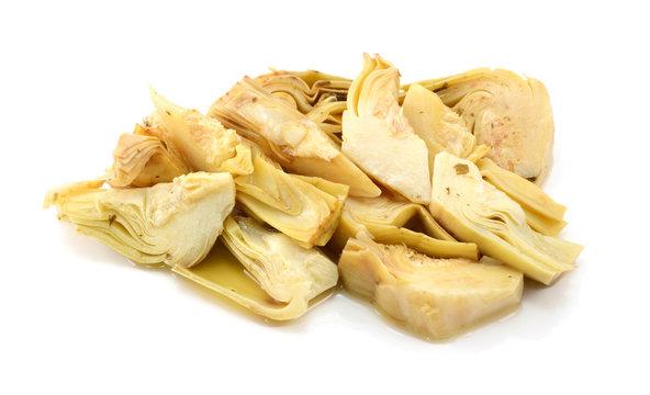 Pile of artichoke heart slices