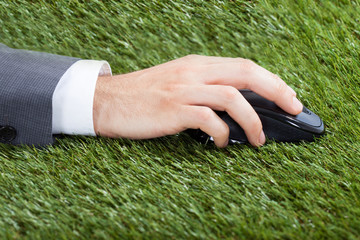 Businessman Using Computer Mouse On Grass