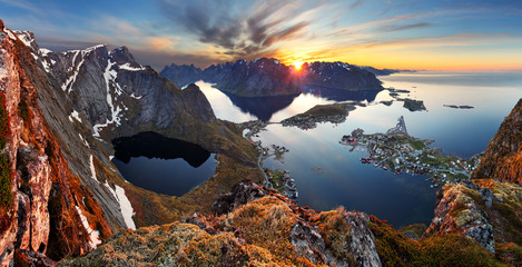 Wall Mural - Nature panorama mountain landscape at sunset, Norway.
