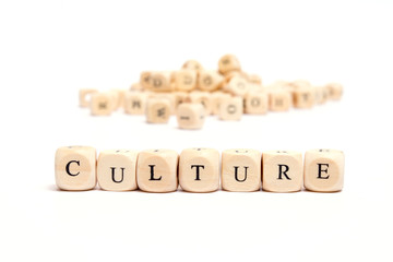 word with dice on white background- culture