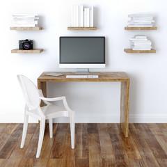 Modern Home Office Interior Design With Bookshelves
