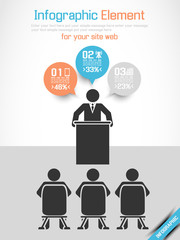 INFOGRAPHIC MODERN BUSINESSMAN CONFERENCE BLUE