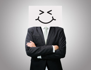 Businessman standing white paper happy smile face holding front