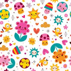 cute cartoon mushrooms, flowers, hearts & birds nature pattern