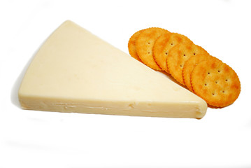 Eating Asiago Cheese with Round Crackers