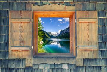Wall Mural - Fensterblick - Gosausee