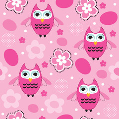 seamless pink owl pattern vector illustration
