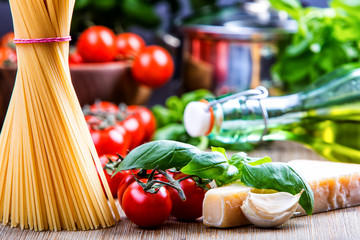 Italian food.Some ingredients for spaghetti.