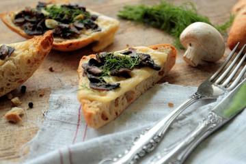 Mushrooms, cheese, garlic on toasted bread with fresh fennel