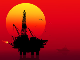 Oil Refinery at Sunset-Vector
