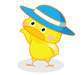 cute cartoon chicks posing with hat
