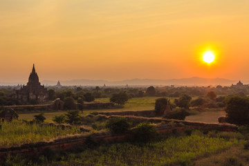 Sunset and Pagoda ,  Bagan in Myanmar (Burmar)