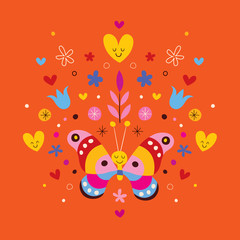 cute butterfly, hearts and flowers