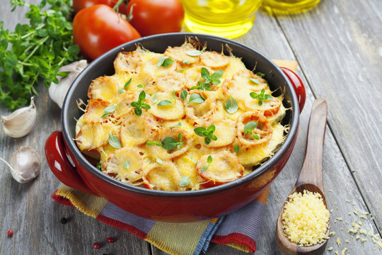 Vegetable baked with tomato and cheese