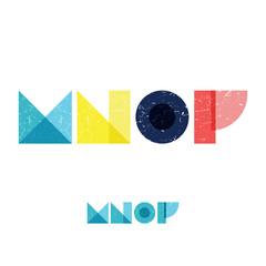 M N O P - Grunge Flat Alphabet Set
