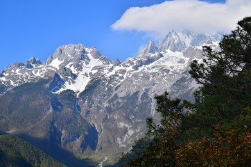The Peak of Jade Dragon Snow Mountain in Lijiang, China